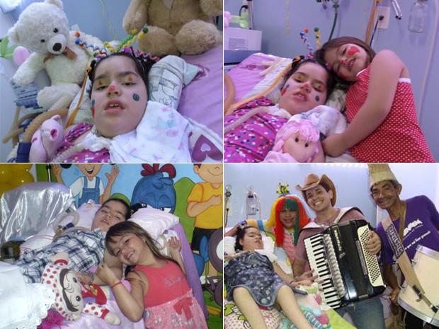 Rayssa comemorando o aniversário no hospital e em momentos de entretenimento, em Teresina (Foto: Amanda Neco/Med Imagem)