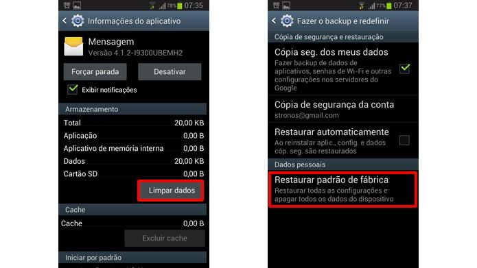 Resolva os congelamentos do app de Mensagens do S3 limpando seus dados ou restabelecendo as configurações de fábrica do aparelho (Foto:Reprodução/Daniel Ribeiro)