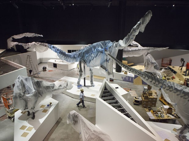 Organizadores preparam exposição de dinossauros em Houston (Foto: AP Photo/Michael Stravato)