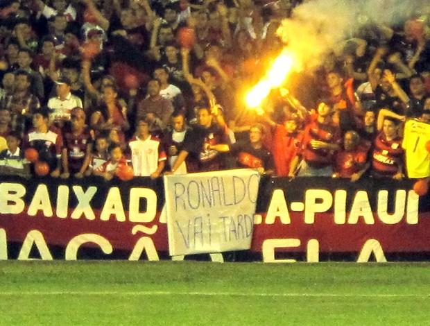 Cartaz, Jogo, Ronaldinho, Flamengo (Foto: Janir Júnior / Globoesporte.com)