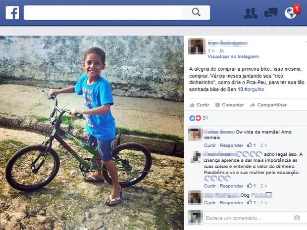 Foram seis meses de economia até comprar a bicicleta (Foto: Reprodução/Facebook)