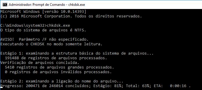 Usando o chkdsk sem parâmetros no Prompt de Comando (Foto: Reprodução/Edivaldo Brito)