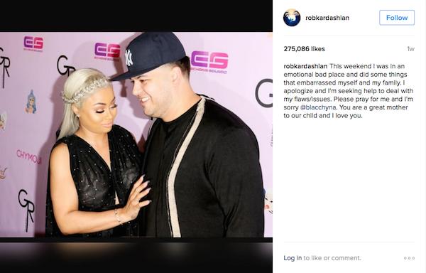 A mensagem de Rob Kardashian  (Foto: Instagram)