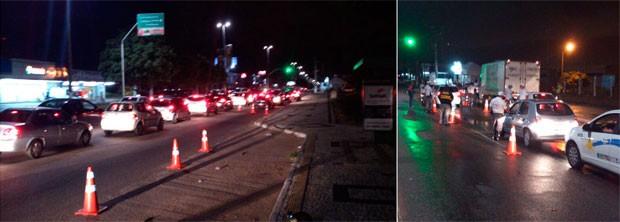 Barreiras de fiscalização da Lei Seca foram montadas em várias avenidas de Natal (Foto: Divulgação/Polícia Militar do RN)