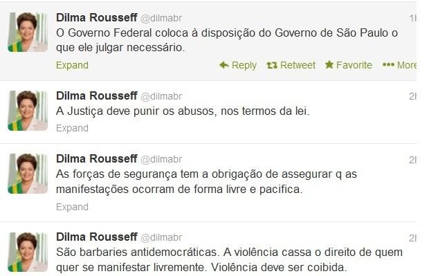 """No Twitter, Dilma chama  manifestações violentas de """"barbáries antidemocráticas""""  (Foto: Reprodução/ Twitter)"""