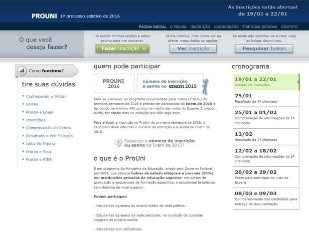 Inscrições para o Prouni estão abertas (Foto: Reprodução)