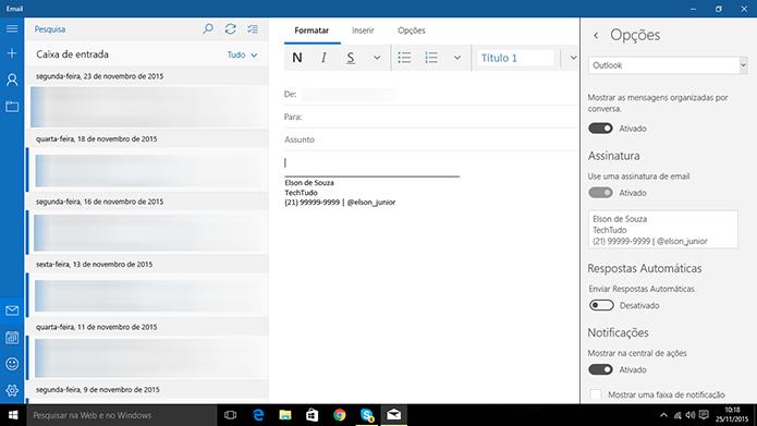 E-mail do Windows 10 pode ter assinatura adicionada pelo usuário (Foto: Reprodução/Elson de Souza)