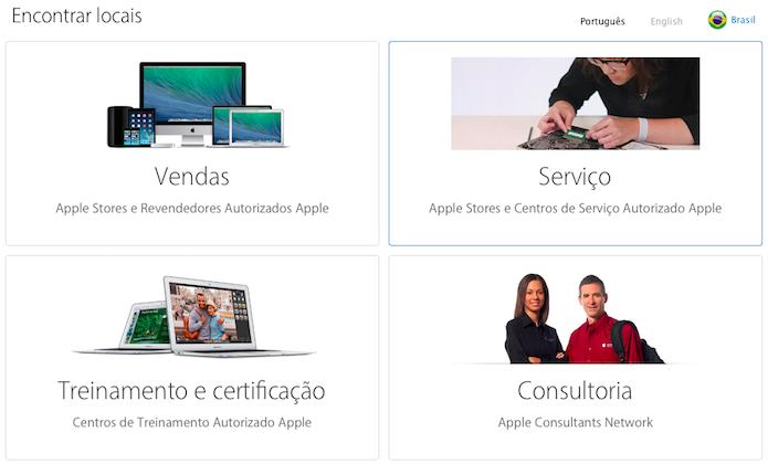 Página de busca de assistências da Apple (Foto: Reprodução/Helito Bijora)