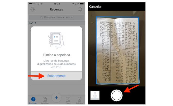 Usando a câmera do iPhone para escanear um documento com o aplicativo do Dropbox (Foto: Reprodução/Marvin Costa)