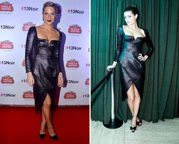 Giovanna Ewbank e Isabeli Gontana com o mesmo vestido, um modelo sexy do inverno da Tufi Duek (Foto: Divulgação e Ricardo Toscani)