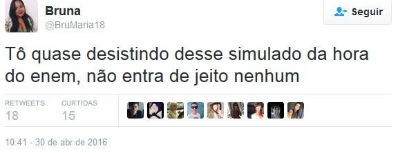 Estudante se queixa da dificuldade de acesso ao simulado (Foto: Reprodução/Twitter)