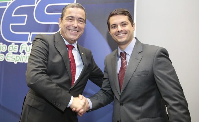 Marcus VIcente, deputado federal e vice-presidente da CBF, e Gustavo Vieira, presidente da FES (Foto: Jussara Martins/FES)