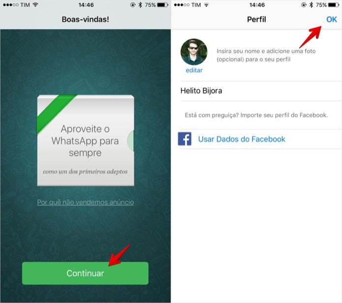 Finalizando configuração do WhatsApp (Foto: Reprodução/Helito Bijora)