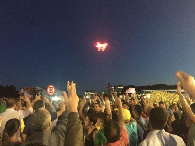 Drone sobrevoa área perto do Palácio do Planalto, de segurança máxima. Aeronáutica vai buscar responsável (Foto: Alexandre Bastos/G1)