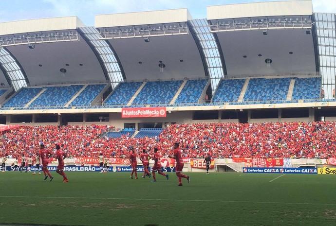 Gol Luiz Eduardo América-RN x Remo Arena das Dunas (Foto: Augusto Gomes/GloboEsporte.com)