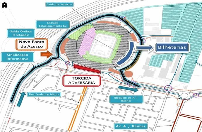 Esquema EPTC Arena Grêmio (Foto: Divulgação/EPTC)