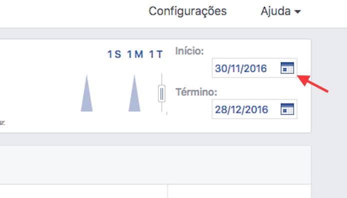 Opção para definir uma data de apuração de curtidas em uma página do Facebook (Foto: Reprodução/Marvin Costa)