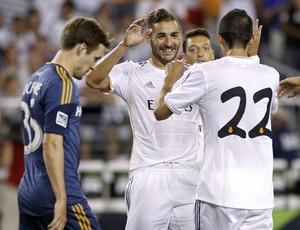 Benzema e Di María, Real Madrid 3 x 1 LA Galaxy (Foto: Reuters)