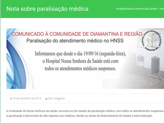 Hospital de Diamantina paralisa atividades (Foto: Hospital Nossa Senhora da Saúde/Divulgação)