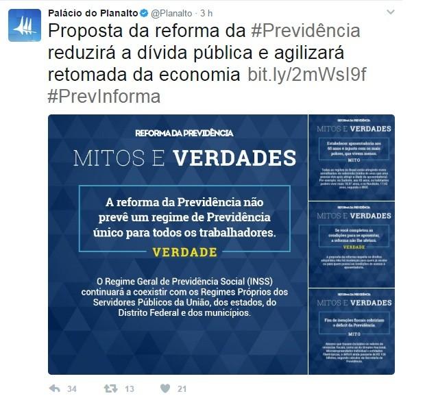 """Palácio do Planalto publicou quatro imagens contendo """"mitos e verdades"""" sobre a reforma da Previdência (Foto: Reprodução/Twitter)"""