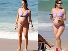 Grávida de gêmeos, Luana Piovani vai à praia do Leblon, Zona Sul do Rio
