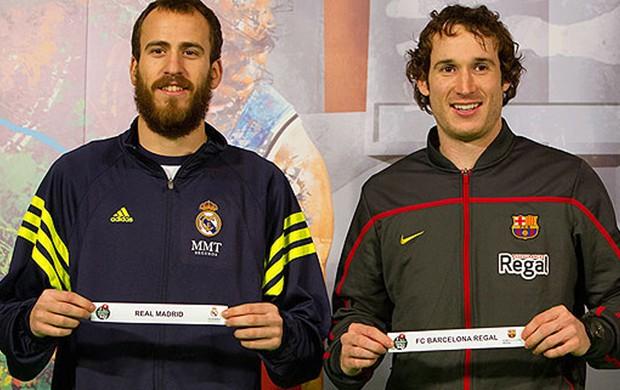 Sergio Rodríguez, do Real Madrid e Marcelinho Huertas, do FC Barcelona Regal, Sorteio Copa do Rei, Basquete (Foto: Divulgação)