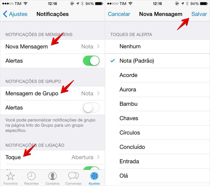 Personalizando os toques de notificações do WhatsApp para iPhone (Foto: Reprodução/Helito Bijora)