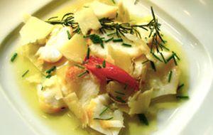 Ravióli de batata-baroa com hadoque