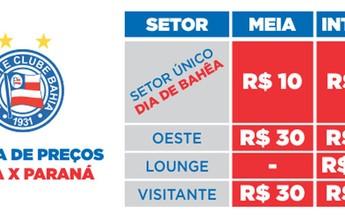 Bahia x Paraná: ingressos para partida de sábado, na Arena, estão à venda