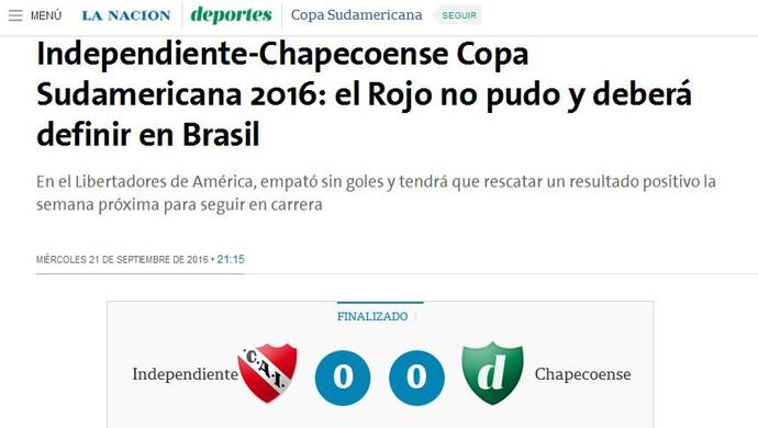 Independiente x Chapecoense La Nacion (Foto: Reprodução/La Nacion)