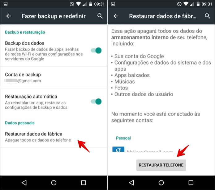 Restaurando configurações de fábrica do Android (Foto: Reprodução/Helito Bijora)