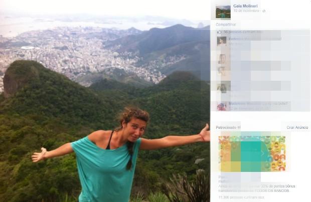 Gaia, com frequencia, públicava fotos da estadia no Brasil. (Foto: Reprodução/Facebook)