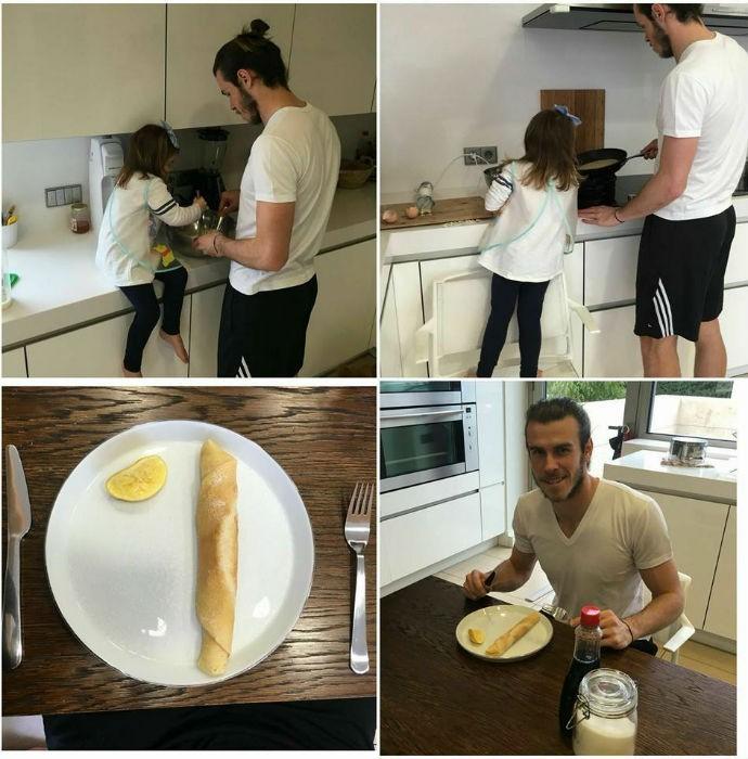 Bale e a filha Alba fazendo panquecas