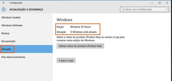 chave do produto key windows 10