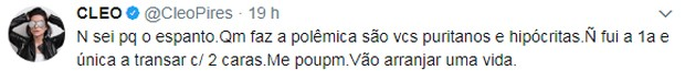 Post de Cleo Pires em rede social (Foto: Reprodução/Twitter)