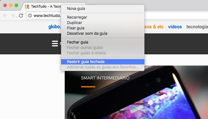 Usando o menu contextual no Google Chrome (Foto: Reprodução/André Sugai)