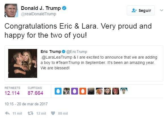 Donal Trump parabeniza filho e nora no Twitter (Foto: Reprodução)