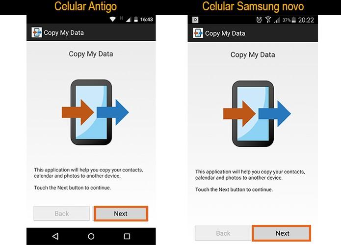Inicie a transferência com ações nas duas telas: celular antigo e no Samsung (Foto: Reprodução/Barbara Mannara)