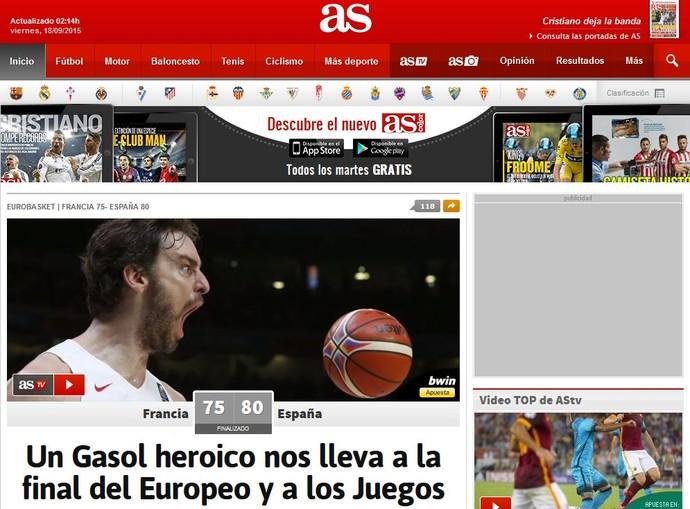 Jornal As traz Pau Gasol na capa e o chama de herói após vaga da Espanha no Rio 2016 (Foto: Reprodução)