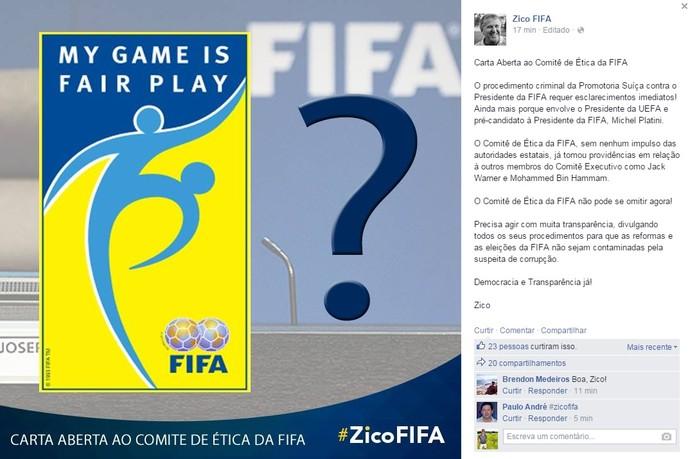 Zico Carta aberta Fifa (Foto: Reprodução)