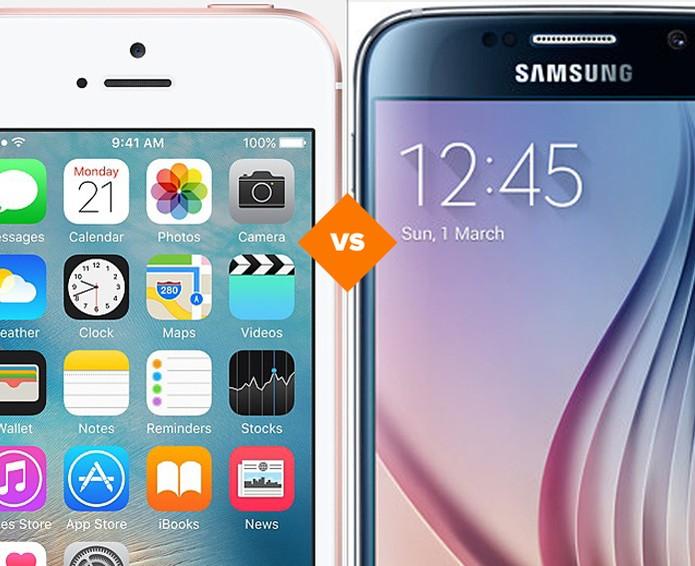 Confira o comparativo entre o iPhone SE e o Galaxy S6 (Foto: Arte/TechTudo)