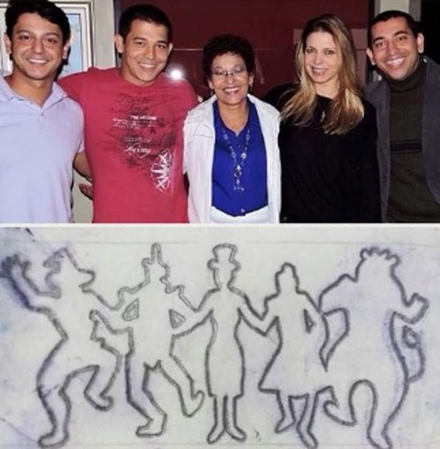 Sheila Mello com a mãe e os irmãos, e a tatuagem que a família fez (Foto: Reprodução Instagram)