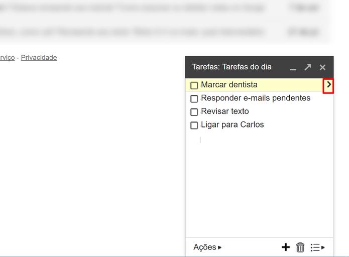 Toque na seta para editar detalhes da tarefa no Gmail (Foto: Reprodução/Elson de Souza)