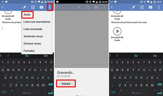 Usuário pode adicionar nova gravação de voz a notas já existentes no OneNote (Foto: Reprodução/Elson de Souza)