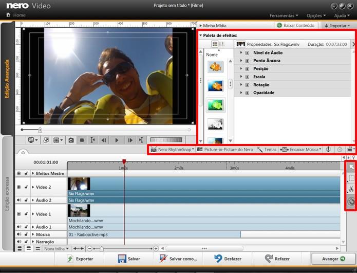 Utilize os recursos e ferramentas em destaque para editar os vídeos de seu projeto (Foto: Reprodução/Daniel Ribeiro)