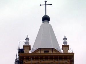Torre da Catedral de Campinas com novas cores (Foto: Oscar Herculano/EPTV)