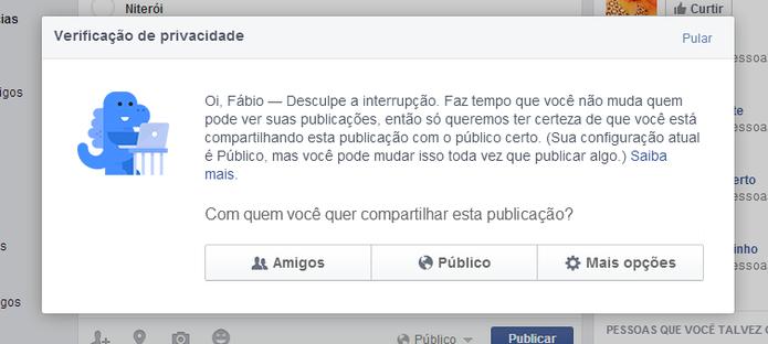 Dinossauro vai ajudar usuários a postarem conteúdo no Facebook somente para quem quiserem (Foto: Reprodução/Elson de Souza)