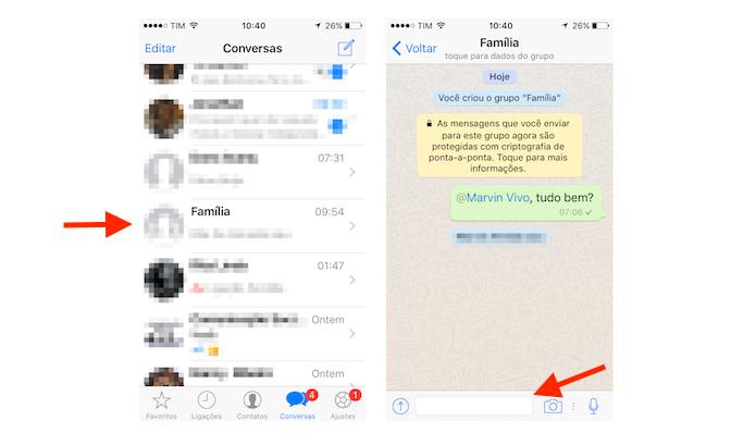 Acesso à tela de composição de mensagens em grupo do WhatsApp para iPhone (Foto: Reprodução/Marvin Costa)