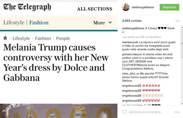 """""""Melania Trump causa controvérsia com vestido de Ano Novo by Dolce e Gabbana"""", diz outro site (Foto: Reprodução)"""