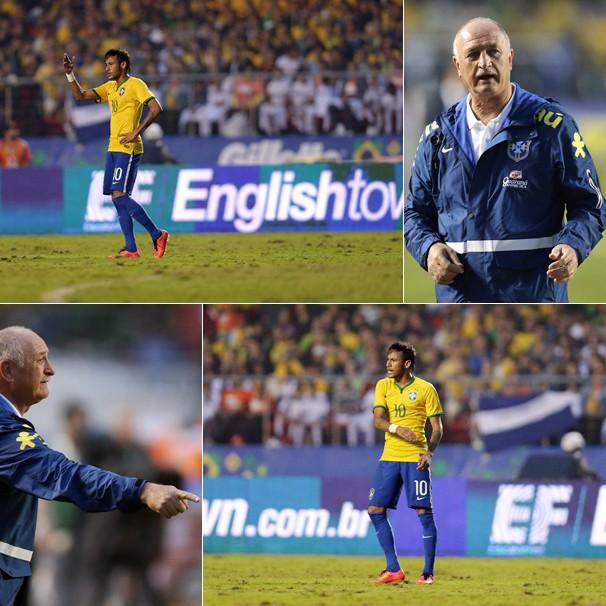 Neymar e o técnico Luiz Felipe Scolari no amistoso do Brasil contra a Sérvia, no dia 6, no Morumbi, em SP (Foto: Wander Roberto/VIPCOMM)
